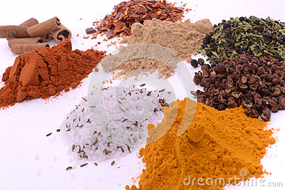 Piles of different spices