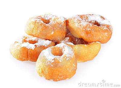 Piles of donuts with sugar