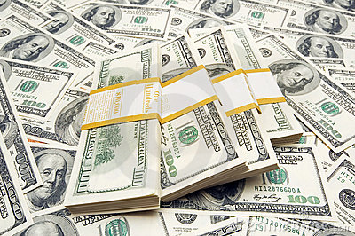 Piles du dollar de dix-millièmes sur le fond d argent