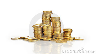 Piles of gold coins