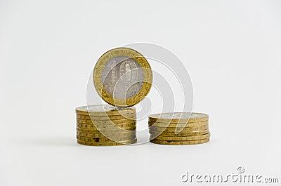 Piles of metal coins