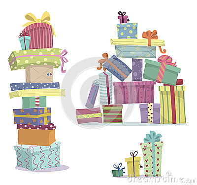 Free Piles Of Presents. Doodle Heaps Of Gift Boxes Stock Photo - 42783850