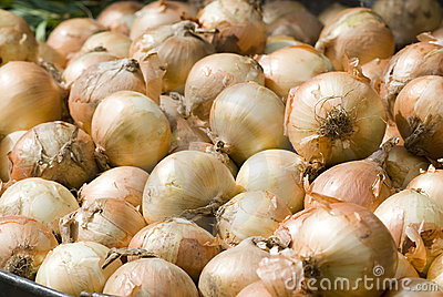 Piles of Onions on the market