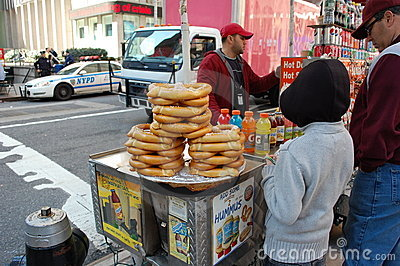 Piles Of Pretzels For Sale New York City Editorial Image