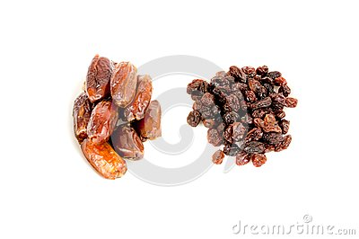 Piles of raisins and dates