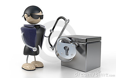Pilferer breaks open the safe
