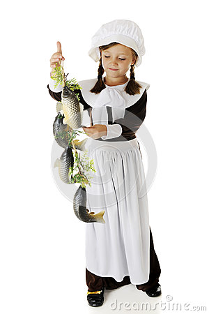 Pilgrim Girl Admiring Fish