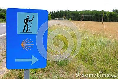 Pilgrim road sign pedestrian way of saint James