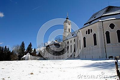 Pilgrimage Church of Wies in snow,Germany