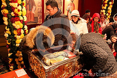 Pilgrimage to the relics of Saint Dimitrie the New Editorial Stock Photo