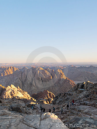 Pilgrims descend from the mountain of Moses
