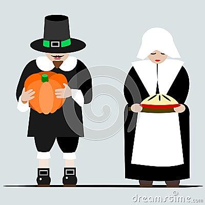 Pilgrims giving thanks