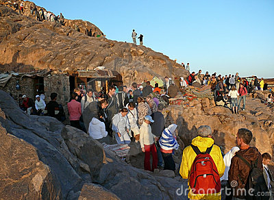 Pilgrims go down from the Mount Sinai Editorial Stock Image