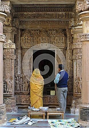 Pilgrims at Khajuraho Editorial Photo