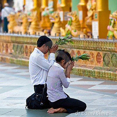 Pilgrims in the Shwedagon Paya, Myanmar Editorial Stock Photo