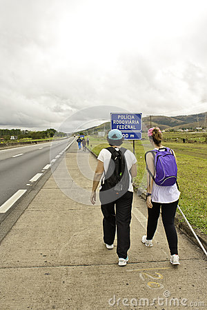 Pilgrims walking to Aparecida-SP (Brazil) Editorial Photography
