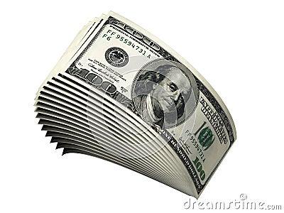 Pilha de cem contas de dólar