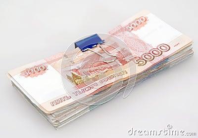 A pilha de contas do rublo