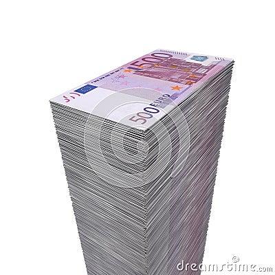 Pilha de dinheiro grande - 500 euro- notas