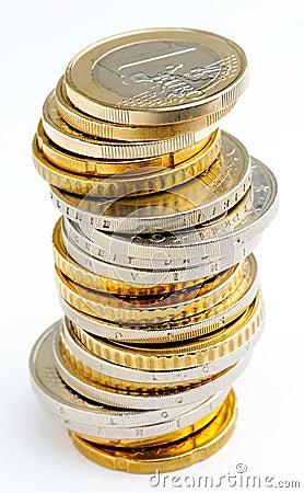 Pilha de euro- moedas