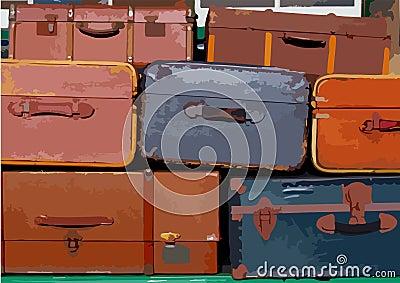 Pilha de malas de viagem