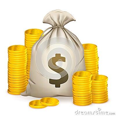 Pilhas de moedas e de saco do dinheiro