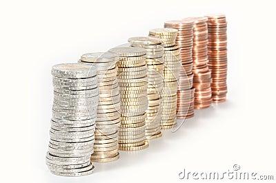 Pilhas do dinheiro (euro 2 a 1 centavo)