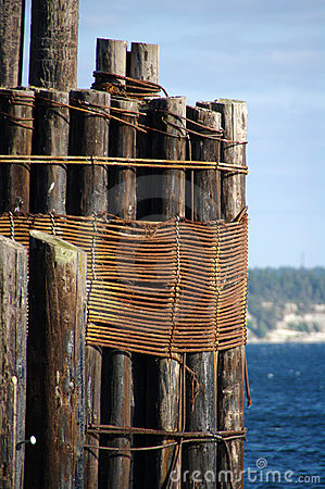 Pilings at the pier royalty free stock images image for Dock pilings cost
