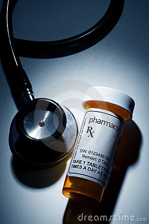 Pill Bottle and Stethoscope
