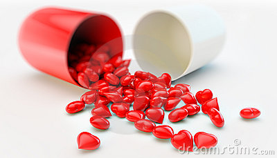 Pill with hearts