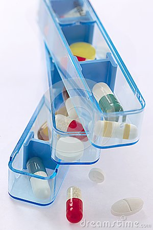 Pill and pill container weekly pillbox