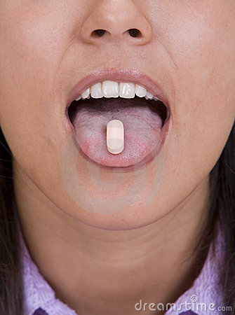 Pill on the tongue