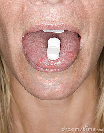 Pill on tongue