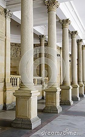 Pillars on colonnade