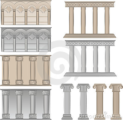 Pillars and columns  illustrations