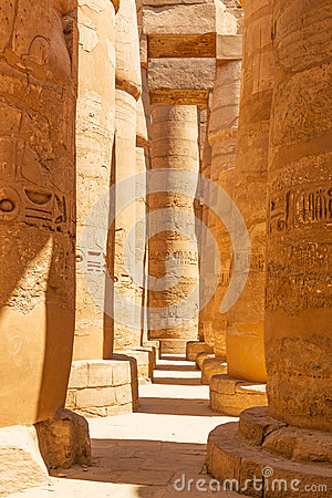 Pillars of the Great Hypostyle Hall in Karnak Temple