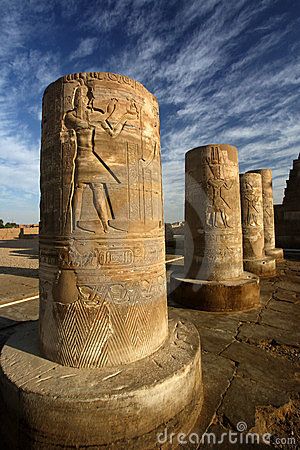 Pillars with hieroglyphs, Egypt