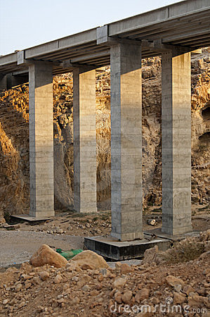 Pillars of a new highway bridge