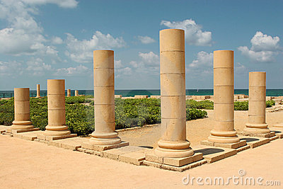 Pillars on the sea shore
