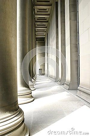 Pillars in soft lighting