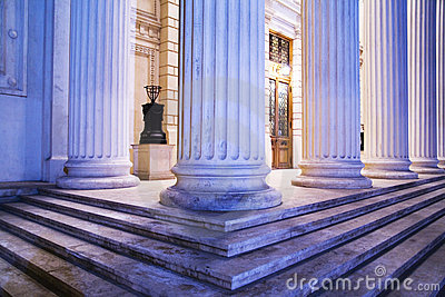 Pillars and steps at night