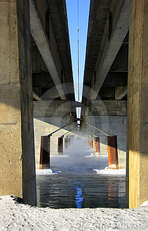 Pillars under bridge