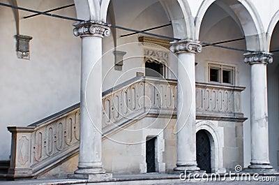 Pillars in Wawel Castle, Krakow, poland