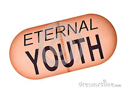 Pillola eterna della gioventù - concetto, metafora sopra fondo bianco