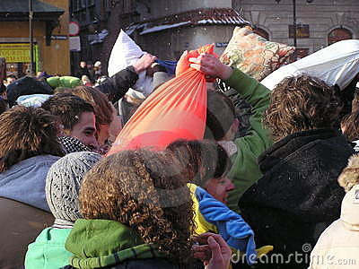 Pillow fight Editorial Stock Image