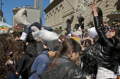 Pillow Fight Editorial Stock Photo