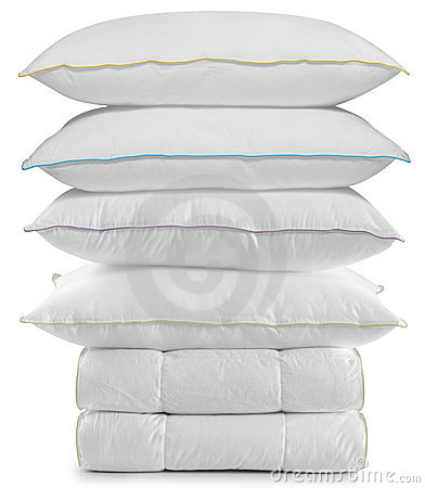 Free Pillows And Duvets. Isolated Royalty Free Stock Images - 12593209