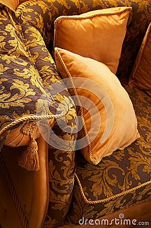 Pillows on a beautiful sofa