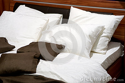 Pillows on a contemporary bed