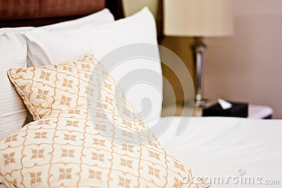 Pillows in Hotel bedroom